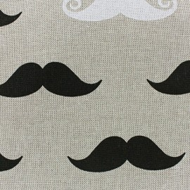 Cotton Canvas Fabric - Moutaches x 10 cm