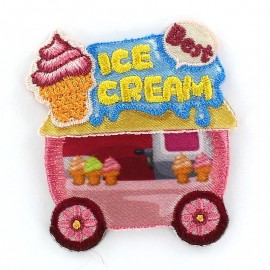 Ice cream Fastfood Car iron-on applique - pink/blue
