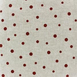 Tissu toile coton Pois bordeaux x 10 cm