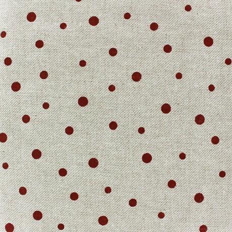 Cotton Canvas Fabric - Pois bordeaux x 10 cm