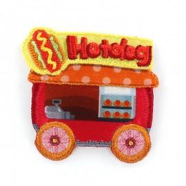 Hotdog Fastfood Car iron-on applique - red