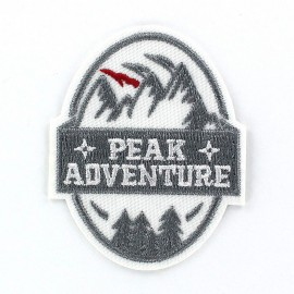 Peak Adventure iron-on applique - silver