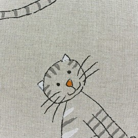 Cotton Canvas Fabric - Le chat et la souris x 10 cm