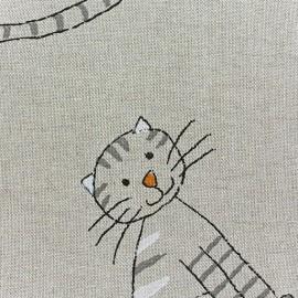 Tissu toile coton Le chat et la souris x 10 cm