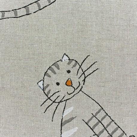 Tissu toile coton Renard sur fond gris x 10 cm