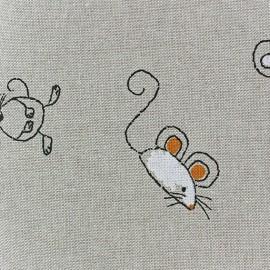 ♥ Coupon 140 cm X 140 cm ♥ Tissu toile coton La petite souris