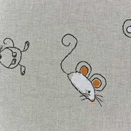 Tissu toile coton La petite souris x 10 cm