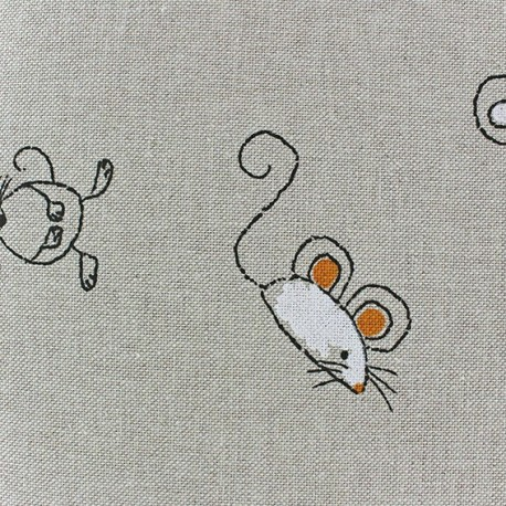 Cotton Canvas Fabric - La petite souris x 10 cm