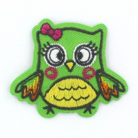 Owl Funny animals iron-on applique - green