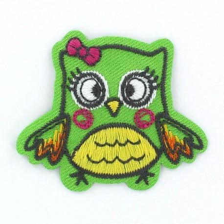 Owl Funny animals iron-on applique - green