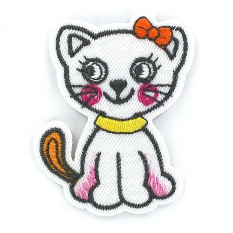 Kitten Funny animals iron-on applique - white
