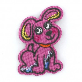 Dog Funny animals iron-on applique - pink