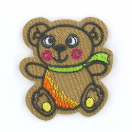 Teddy bear Funny animals iron-on applique - brown