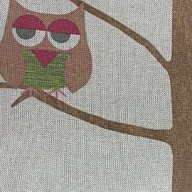 Tissu toile coton Hiboux à lunettes rose x 10 cm