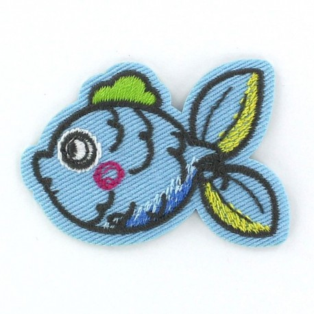 Fish Funny animals iron-on applique - blue