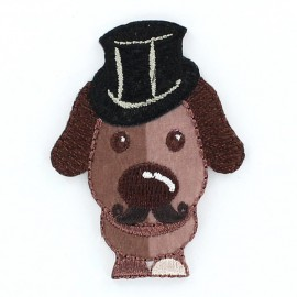 Dog Gentleman animals iron-on applique - brown