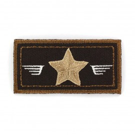Air Force coat-of-arms iron-on applique - brown