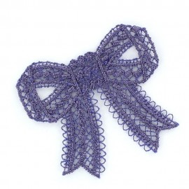 Lace bow iron-on applique - purple