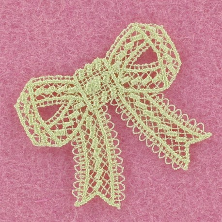 Lace bow iron-on applique - lime