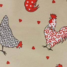 Cretonne Cotton Fabric - Cotcot beige/red x 10cm