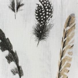 Linen Fabric - Plumes white/black x 10cm