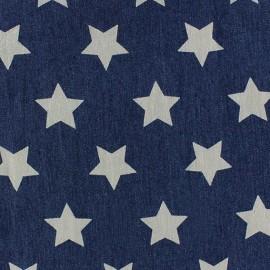 Tissu jeans Etoiles bleu x 10cm