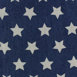 Stars Jeans Fabric - Dark Blue x 10cm