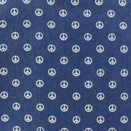 Tissu jeans Peace and Love bleu x 10cm