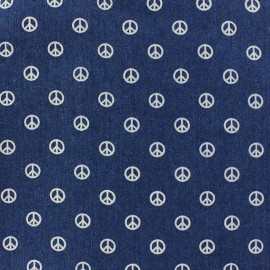 Tissu jeans Peace and Love bleu foncé x 10cm