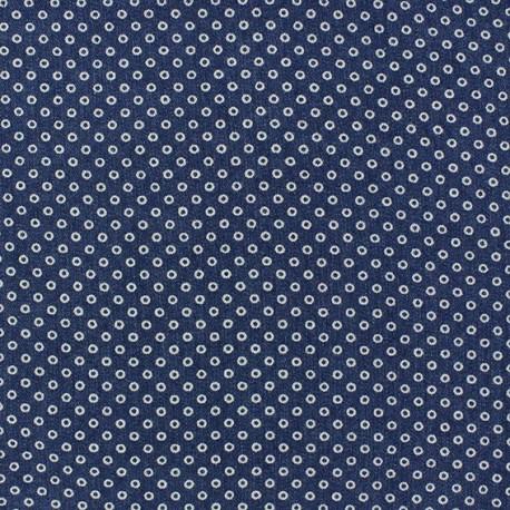 Tissu jeans Petits ronds bleu x 10cm