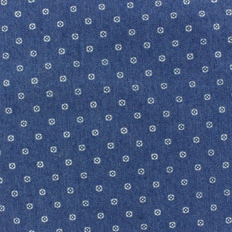 Jeans small flowers fabric - blue x 10cm