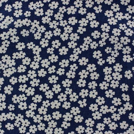 Jeans beautiful flowers fabric - dark blue x 10cm