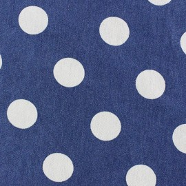 Tissu jeans Jolies fleurs bleu foncé x 10cm
