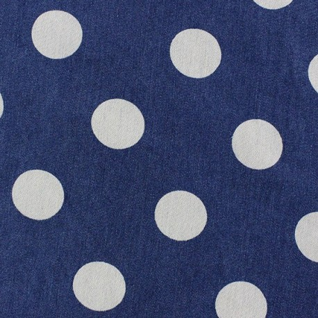 Tissu jeans Gros pois bleu x 10cm