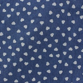 Big hearts Jeans Fabric - blue x 10cm