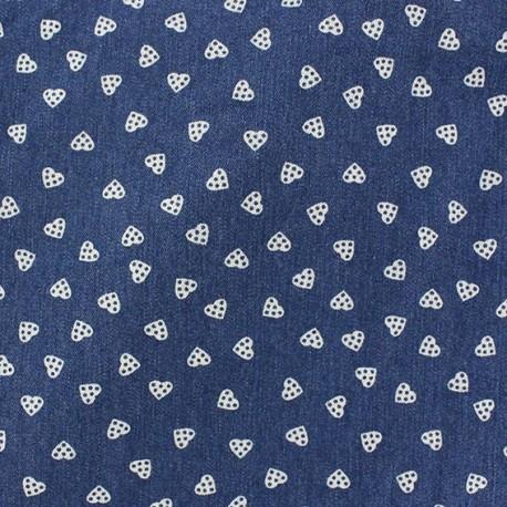 Tissu jeans Gros pois bleu foncé x 10cm