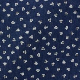 Big hearts Jeans Fabric - dark blue x 10cm
