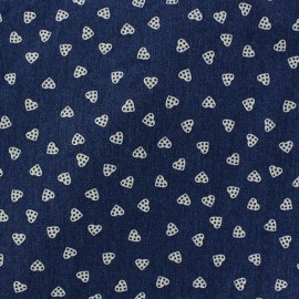 Tissu jeans Coeurs à pois bleu x 10cm