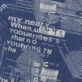 Tissu jeans Text patch bleu foncé x 10cm