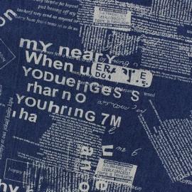 Tissu jeans Text remix bleu x 10cm