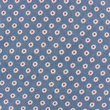 Jeans Daisy fabric - light blue x 10cm