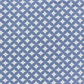 Tissu jeans motifs graphiques bleu clair  x 10cm