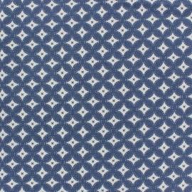 Tissu jeans motifs graphiques bleu x 10cm