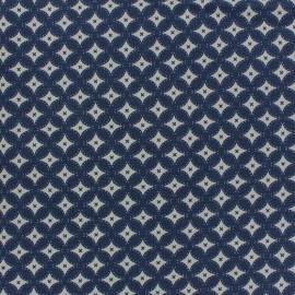 Tissu jeans motifs graphiques bleu foncé x 10cm