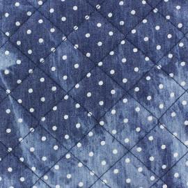 Tissu jeans matelassé petits pois x 10cm