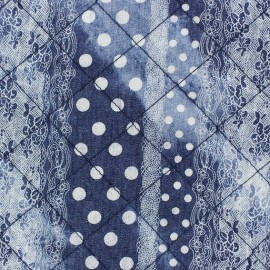 Quilted Jeans Fabric - Lace and Dots x 10cm