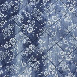 Tissu jeans matelassé fleurs x 10cm