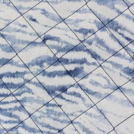 Tissu jeans matelassé Zèbre remix blanc sur bleu x 10cm