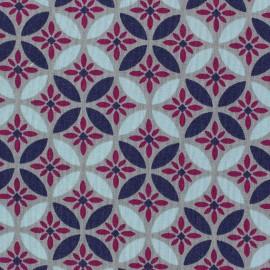 Tissu coton popeline Magic Flowers violet x 10cm