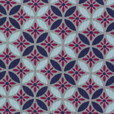 Fabric coton popeline Magic Flowers violet x 10cm